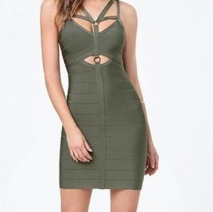 bebe Dresses - Bebe Bodycon Dress Olive Green Cutout Midi Size L